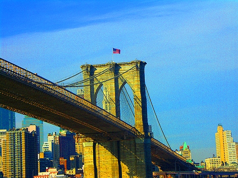 NY-Brooklyn Bridge and Manhattan Bridge from the Circle Line