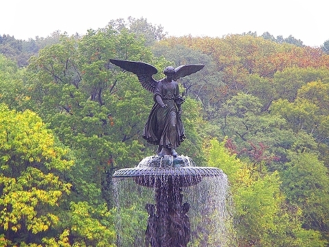 NY- Central Park in the rain- Angel of the Waters
