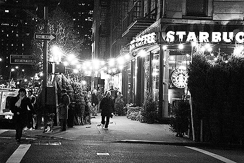 NY Columbus Ave Christmas Trees For Sale Black And White 04