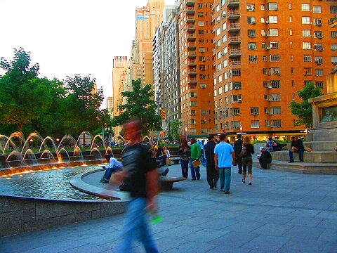 NY- Columbus Circle Fountains and Museum of Arts and Design