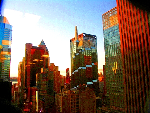 NY- Sunset on Midtown Manhattan, Media Capital of the World