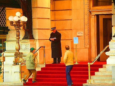 NY- Larry David and the Doorman at the Plaza