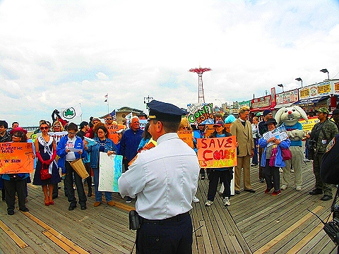 NY- Save Coney Island, Playground to the World- Beach Opening Protest