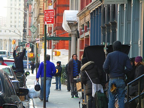 NY- Tribeca- Duane Park- Peter and Vandy movie shoot