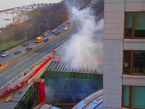 NY- Destruction of the west side highway, west 72nd street exit ramp