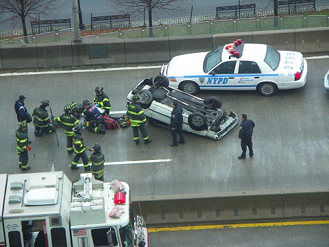 NY- Westside Highway-Accident- Car Flipped Over